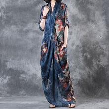 Laden Sie das Bild in den Galerie-Viewer, Printing Women Summer Loose Casual Irregular Floral Blue Dress