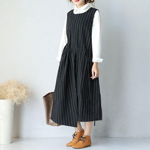 Large Size Round Neck Sleeveless Women Stripe Lacing Dress