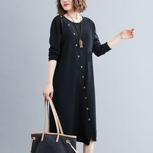 long sleeve plus size knitted vintage women causal loose midi autumn winter sweater dress