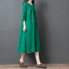 Load image into Gallery viewer, Casual Womens Vintage Linen Half Sleeve Dress