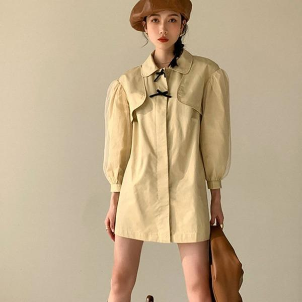 Patchwork Bow Single Breasted Trench Women 2020 Winter Casual Fashion Style Temperament All Match Women Clothes