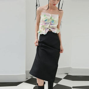 Elegant 2020 Winter Hollow Out Goddess Fan Casual Style Loose Skirt