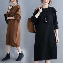 Load image into Gallery viewer, omychic plus size knitted vintage women causal loose midi autumn winter sweater dress