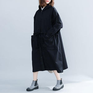 black cotton plus size Oversized hooded vintage women casual loose long autumn female trench coat 2020 Cardigan clothes