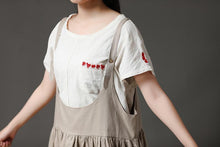 Load image into Gallery viewer, Beige Cotton Linen Loose Women Pleated Casual Dress