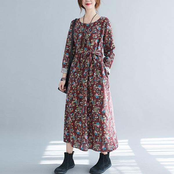 Style Floral Print Loose Ladies A-line Casual Dresses