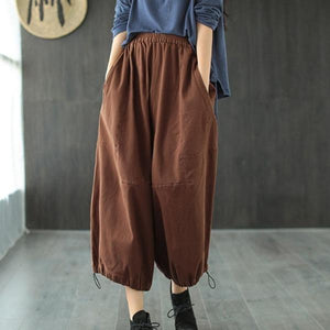 Loose Leisure Pockets Elastic Waist Ankle-length Wide Leg Pants
