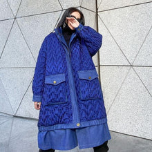 Load image into Gallery viewer, Women Winter The New Contrast Color Loose Pockets Street Trendy Stand Collar Parka Coat
