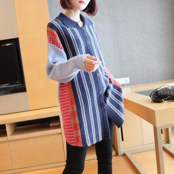 Fashion Knitting Stripe Sweater New  Turn-down Collar Single Breasted Trendy Loose Top