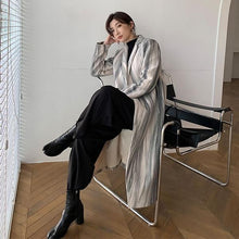 Load image into Gallery viewer, New Smoke Gray Lines Print Blend Loose Casual Women Coat Winter Fashion V Neck Collar Simplicity Single Button