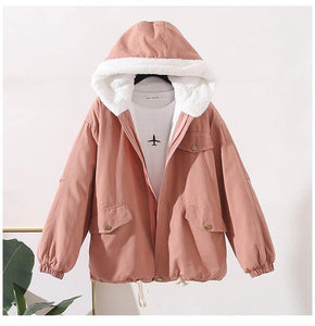 Women Winter Cotton Padded Jackets Hooded BF Tooling Cotton Lamb Wool Coat