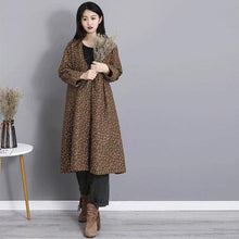 Load image into Gallery viewer, Winter Fashion V-neck Floral Print Cotton Linen Long Coat  Casual Women Outerwear