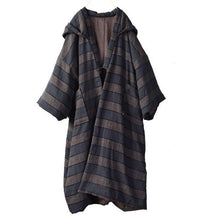 Load image into Gallery viewer, 2020 Spring Striped New Loose Simple Casual Warm Cotton Long Hooded Coats