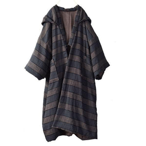 2020 Spring Striped New Loose Simple Casual Warm Cotton Long Hooded Coats