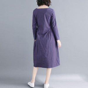 New Arrival 2020 Autumn Simple Style Vintage Solid Color Loose Dress