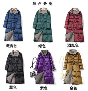 Black Double Side Wear Outerdoor Female Coats Long  Warm Down Coat Puffer Jacket Parka