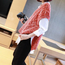 Load image into Gallery viewer, Patchwork Casual Side Split Sweater Women Tide Fashion New Style V Neck Collar Sleeveless Match All Elegant Top