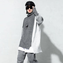 Load image into Gallery viewer, Fashion Contrast Color Turtleneck Collar Pullover Irregular Slit Loose Casual Women