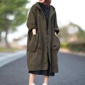 Plus Size Hooded Single Breasted Windbreaker Simple Casual Solid Color All-match Women Long Coat