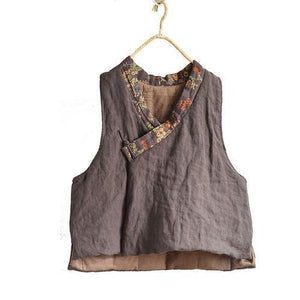 Women Loose Retro Linen Patchwork Padded Vests Top Waistcoat Outerwear Ladies Vintage Flax Vest Female 2020 Autumn Winter Vests