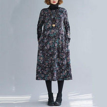 Load image into Gallery viewer, omychic plus size cotton vintage floral women casual loose autumn winter dress