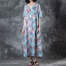 Load image into Gallery viewer, Retro V Neck Short Sleeve Printed Ramie Dress