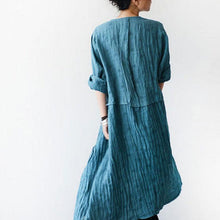 Load image into Gallery viewer, Long Sleeve Linen Flouncing Dress