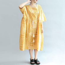 Load image into Gallery viewer, Round Neck Printing Lacing Summer Women Yellow Dress