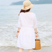 Load image into Gallery viewer, Special Collar Design Women Half Sleeve Loose White Folded Dress