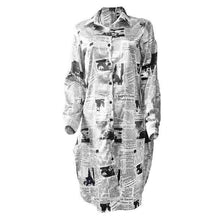 Load image into Gallery viewer, long sleeve plus size cotton letter print for women casual loose spring autumn shirt dress