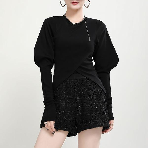 New Leg of Lamb Sleeve Fashion Women Elegant O Neck Pullover All-match Top
