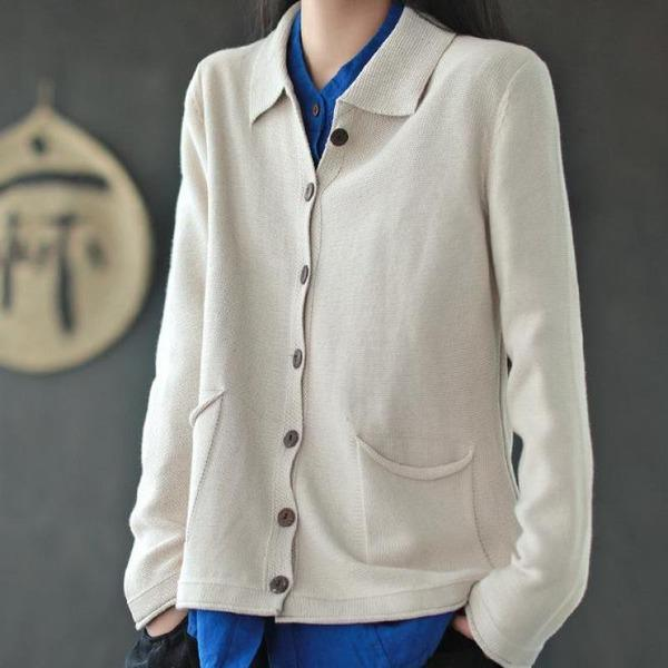 All-match Knitted Turn-down Collar Pockets Cardigan