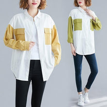 Load image into Gallery viewer, omychic cotton autumn vintage korean style plus size Casual loose shirt women blouse 2020 clothes ladies tops streetwear