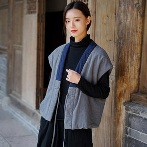 2020 New Cotton And Linen Vintage Vests Chinese Style Warm Cloths Women's Cardigan Belt Vests Coats