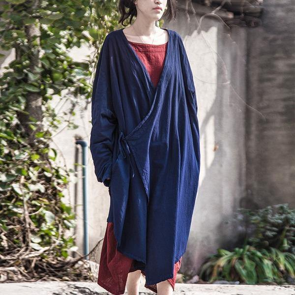 Women Cotton Linen Bandage Trench Coat  V-Neck Vintage Cardigan Irregular Clothes Trench