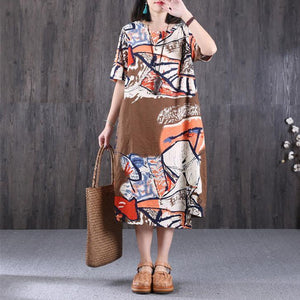 Ethnic Printing Round Neck Women Coffee Dress
