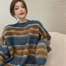 Load image into Gallery viewer, Contrast Color Stripe Knitting Sweater Women Winter New O neck Collar Pullover Loose  All-match