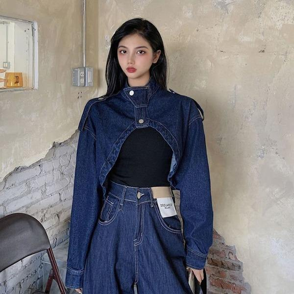 Short Denim Irregular Jacket Women Clothes 2020 Spring New Stand Collar Full Sleeve Match All Causal Jacket Coat