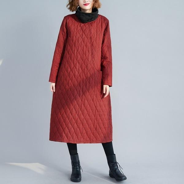 Padded cotton plus size vintage plaid for women casual long sleeve loose autumn winter dress
