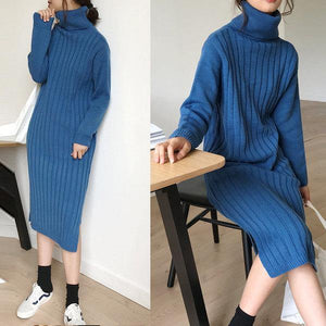 Winter wholesale casual solid color oversized ribbed knitted dress