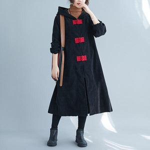 corduroy plus size solid vintage hooded women casual loose long autumn winter female trench coat 2020 clothes