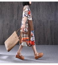 Load image into Gallery viewer, Ethnic Printing Round Neck Women Coffee Dress