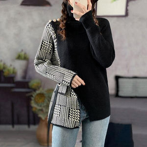 Vintage Patchwork Plaid Sweater Women  New Style Turtleneck Collar Long Sleeve Split Loose