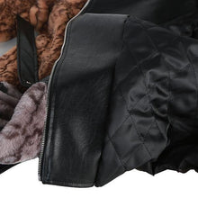 Load image into Gallery viewer, Fashion Contrast Color Faux Leather New Splicing Pu Leather Turn-down Collar Women Loose Short Coat
