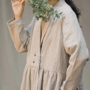 Linen Trench Solid Color Coats Turn-down Collar Long Sleeve Button 2020 Autumn New Chinese Style Trench