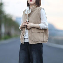 Load image into Gallery viewer, 2020 Autumn New Button Stand Sleeveless Pockets Solid Color Warm Casual Women Vests