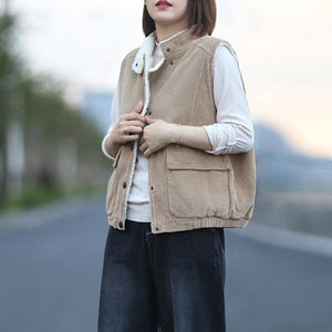 2020 Autumn New Button Stand Sleeveless Pockets Solid Color Warm Casual Women Vests