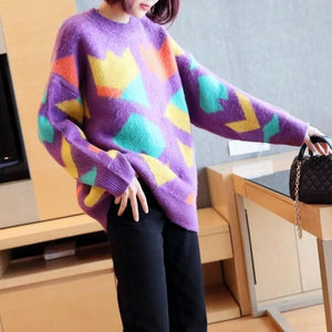 Fashion New Style O Neck Collar Long Sleeve Pullover Tie Dye Elegant Loose Top