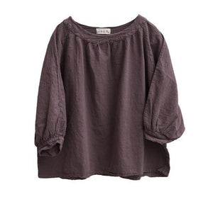 Women Loose Cotton Linen Solid Color T-shirt