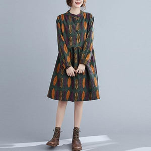 Arrival 2020 Autumn Vintage Print Stand Collar Loose Ladies Knee-length A-line Dresses